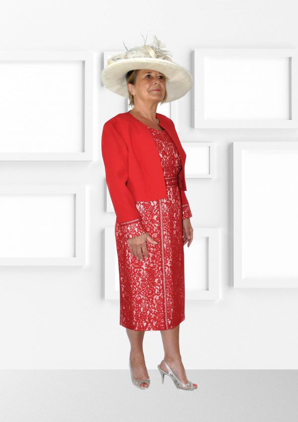Condici Beautiful Poppy Coloured Dress and Red Jacket