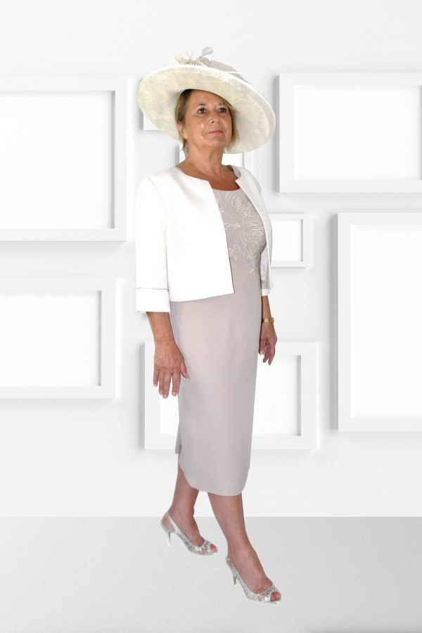 Condici Elegant Dress and Jacket in Vanilla Latte