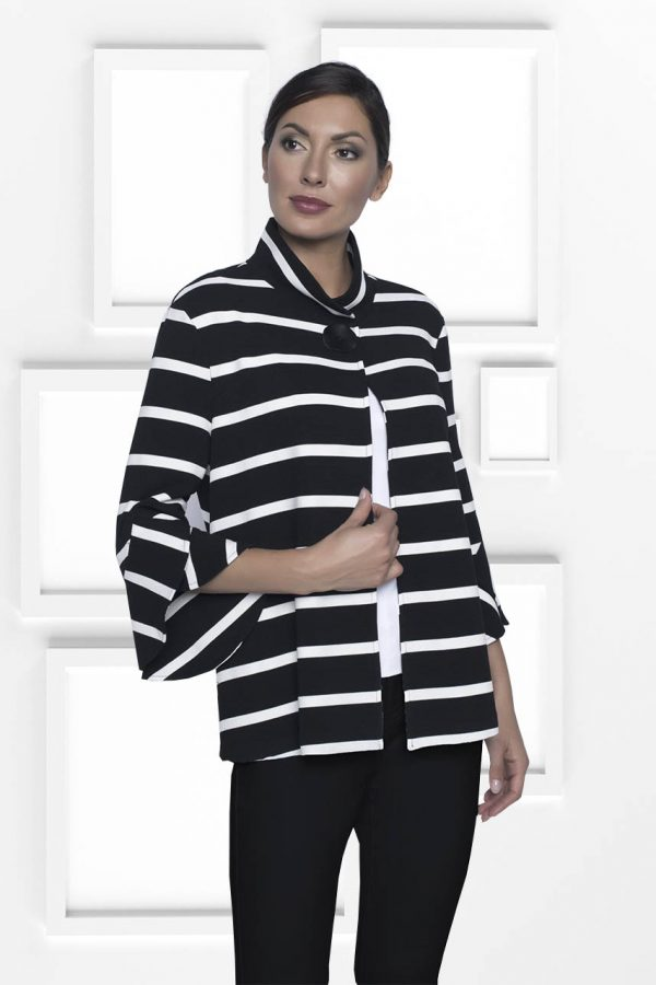 Frank Lyman Black and White Knit Jacket with Fluted Sleeves