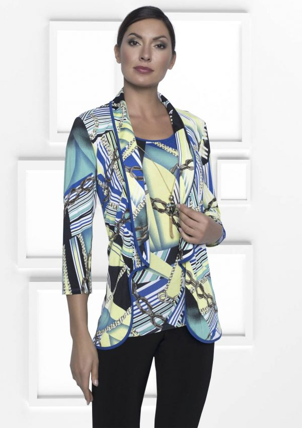 Frank Lyman Colourful Twin Set Features Throw Over Jacket